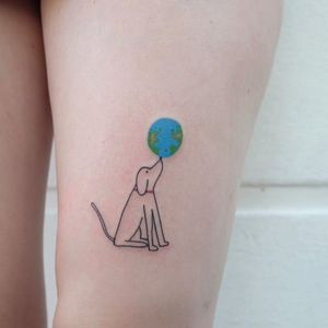 Dog tattoo by Victor Zabuga #VictorZabuga #TattoodoApp #TattoodoApptattooartist #tattooartist #tattooart #tattooidea #inspiringtattoo #besttattoo #linework #illustrative #minimal #dog #world #leg