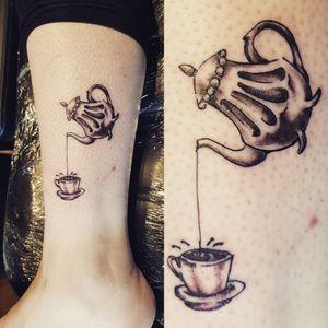 Cute Cup of Tea Tattoo #CupOfTea #TeaTattoo #Teapot #TeapotTattoo #CuteTattoo #FunTattoo #Quirky #QuirkyTattoo
