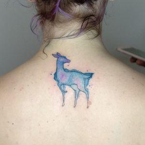 Watercolor deer for the Rogue's patronus tattoo #tatouage #aquarelle #tatouageaquarelle #watercolor #watercolortattoo #galaxy #galaxytattoo #nebuleuse #biche #deer #doe #animal #blue #bleu #patronus #rogue #severusrogue #hp #harrypotter #michiyo