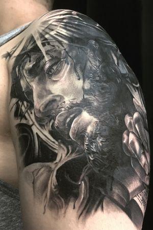 Jesus blackandgrey coverup black and gray realism chicano blackwork korean