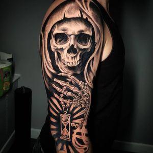#realism #GrimReaperTattoo #skulltattoo #blackandgreytattoo #tattoo #blackandgrey #realistictattoo #sleevetattoo #besttattoos #toptattooartist #uktattoo #tattooart