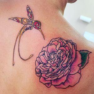 #salishart #peacecountryrose #hummingbird