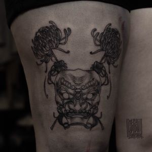 Tengu mask for Maria. #bestoftheweek #mask #tengu #irezumi #blacktattoo #graphictattoo #kiku #flower #moscowtattoo #tattooartistmoscow