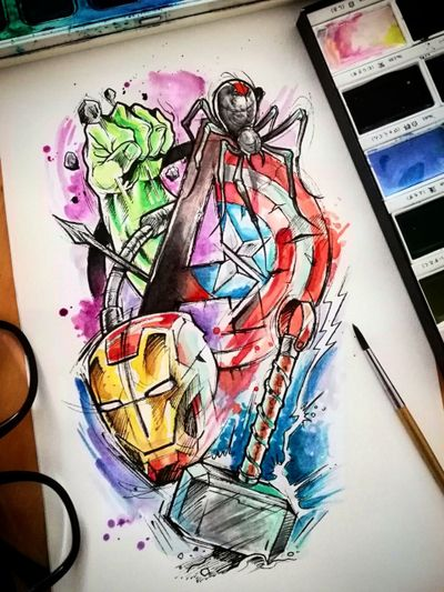 Design Taken @guilleryan.arttattoo guilleryanarttattoo@gmail.com #hulk #thor #ironman #capitanamerica #viudanegra #hawkeye #avengers #avengersendgame #bcnttt #comictattoos #manga #sketchtattoos #cartoontattoos