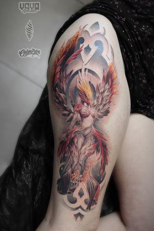 """Phoenix"" Custom work by WANDAL #wandal #PhoenixTattoos #phoenixtattoo #thightattoos #phoenix #londontattoos #londontattooartist #tattoolondon"