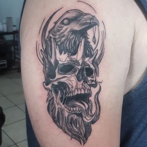 The Crow King, pieza en estilo Blackwork. #blackworkers #blackwork #shaka #tattoos #tattoodo #CostaRicaTattoo #Shaka #AndresTorresArt