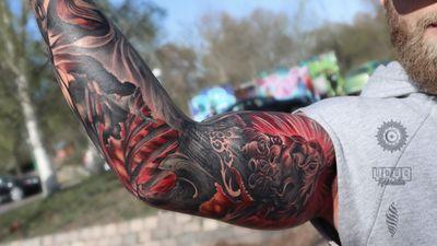 Piece done in over two days by WANDAL! Brutal Greek God 🔥 #god #greekgod #greektattoo #armtattoo #tattooart #wandal #warriortattoo #londontattoos