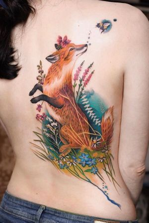 Done at The Family Business in London - fox tattoo by Debora Genchi - #foxtattoo #fox #butterfly #nature #floral #flowers
