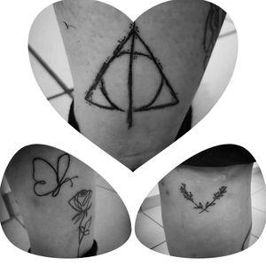 Three little Tattoos from Newcomer.. I love them ♡ #butterflytattoo #harrypottertattoo #heiligtümerdestodes #deathlyhallows #onelinetattoo #flowertattoo #harrypotter