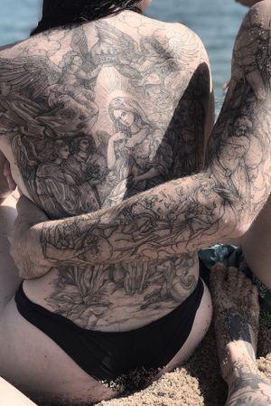 Healed tattoos #lescrowtattoo #art #engraving #linework