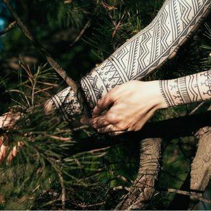 Arm band tattoo by Andrei Vintikov #AndreiVintikov #armband #armbandtattoo #band #bracelet #bands #arm #linework #dotwork #blackwork #tribal #neotribal
