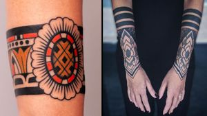 Arm band tattoo on the left by Vic James and arm band tattoo on the right by Luca Benevento #LucaBenevento #VicJames #armband #armbandtattoo #band #bracelet #bands