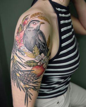 Bird tattoo by Mathilde Hanmeister of Berlin Ink #MathildeHanmeister #Berlin #BerlinInkTattooing #Germany #Neotraditional #neotrad #nature #flower #rose #artnouveau #beauty #color #bird #apple #pinecone #armtattoo