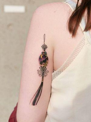 Black norigae with bat ornaments and moon #tattoo #norigaetattoo #fantattoo #peonytattoo #colortattoo #flowertattoo #tattooistsion