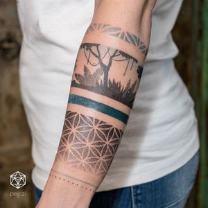 Arm band tattoo by Ola Oleszkiewicz #OleOleszkiewicz #armband #armbandtattoo #band #bracelet #bands #dotwork #color #linework #pattern #sacredgeometry #trees #plants #arm