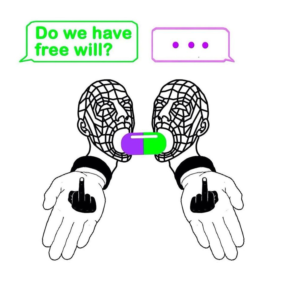 Do we have free will? Are you sure that the decisions taken by you are so independent and so independent? How do you know that the future is not predetermined, and that there really were alternatives to the choice? Could we make any other choice at all, given the environmental conditions - the situation, the environment, people, genetics? Has your choice been made at the time of the big bang, and everything is just developing according to the set scenario, and the future is only one, and there are no alternative ones? What if we are just agents of the program that executes the code, and the blue and red pill is just an illusion of a choice that has already been made for us? #Anna #PomDeterminism #handpoketattoo #handpoke #stickandpoke #cyberpunk #cyber #surrealism #linework #dotwork #strange #weird #unique #philosophy