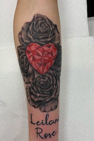 #roses #color #forearm #diamond #pink #heart