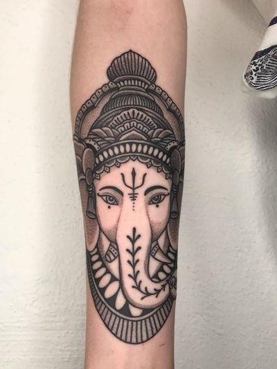 Ganesha tattoo by Jaka Putra #JakaPutra #BerlinInkTattooing #BerlinInk #Berlin #BerlinGermany #tattoostudio #tattooshop #ganesha #elephant #hindu #dotwork