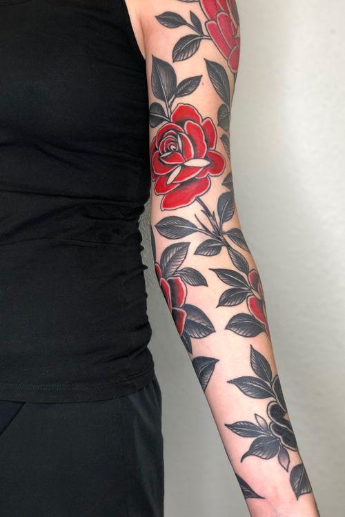 Rose sleeve #rose#rosetattoo#floraltattoo#floral#lasvegastattooartist
