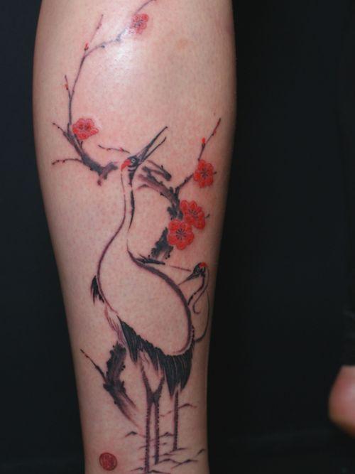 Japanese Cherry blossom and crane