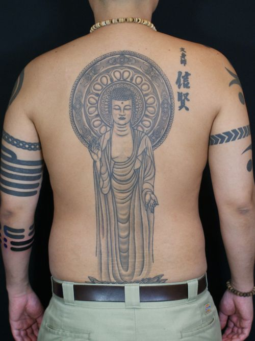 Black and Grey fine lined back piece