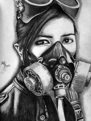 Woman gasmask Sketch
