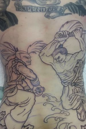 First session of Samurai Shodown back tattoo by Heath Whitten at Hero Tattoo in Conway SC.