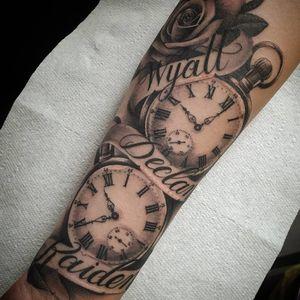 #tattoo #tattoos #tattooist #tattooartist #blackandgrey #blackandgreytattoo #realistictattoo #realismtattoo #blackandgrey #blackandgreytattoo #rosetattoo #roses #pocketwatch #pocketwatchtattoo #names #script #banner #clocktattoo #clock #point2point #tattoostudio #erith #kent #southlondon
