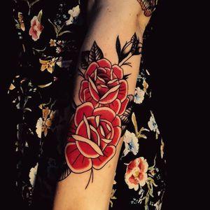 #tattoo #focus #alwayslearning #tattoo #loveit #happy #ilovemyjob #doitwithlove #thankful #traditionaltattoo #rosetattoo