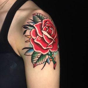 #tattoo #focus #alwayslearning #tattoo #loveit #happy #ilovemyjob #doitwithlove #thankful #traditionaltattoo #colortattoo #rosetattoo