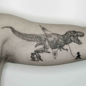 T-Rex Black and grey, realism, realistic, geometry