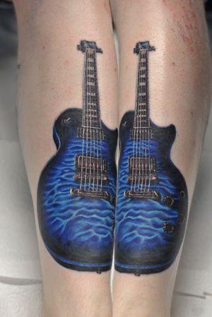 Guitar on shin #edinburghtattooartist #tattoo #guitartattoo #superbtattoos