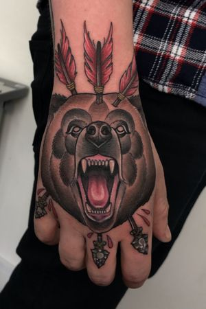 Bear hand tattoo