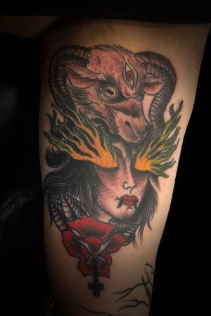 Demon girl Head on the Bicep