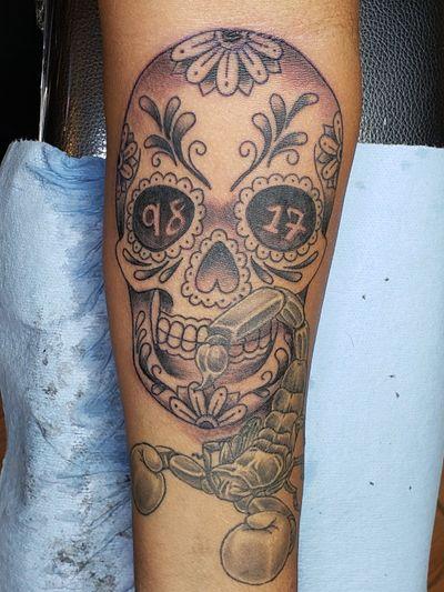 Black and gray ink. #skulltattoo #sandiegotattooartist #sandiegoink #sleevetattoo #tattoolife #inkmywholebody #tattooideas #dayofthedead #candyskulltattoo