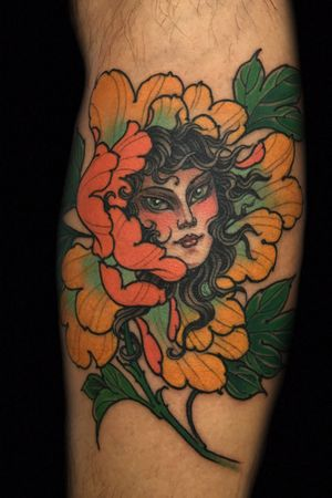 Peony and girl face