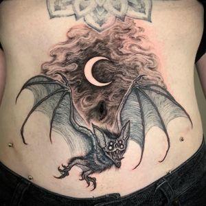 Blackwork Vampire Bat, blacktattoo