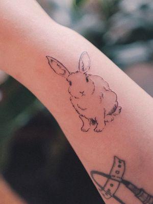 Bunny tattoo by Yeah Ag #YeahAg #bunny #rabbit #korea #korean #seoul #hongdae #rabbit #doodle #drawing #sketch #crayon #pencil #blackwork #animal #cute