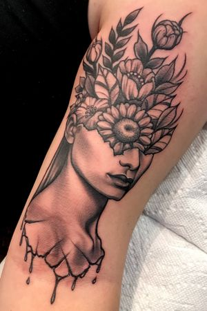 Floral bouquet woman artsy black and grey tattoo...