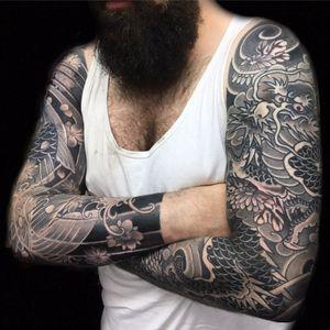 Black and grey sleeves. Dragon and koi
