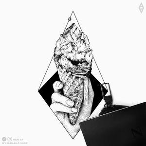 Ice cream. More on my Instagram (the_rawflow) or web: www.rawaf.shop #black #blackwork #dotwork #blackandgrey #nature #mountain #mountains #stippling #geometric