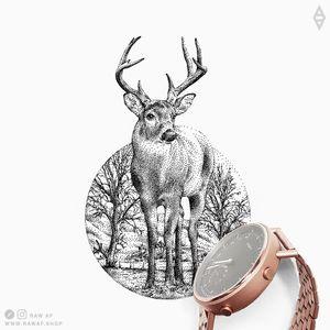 Deer with trees in the background. More on my Instagram (the_rawflow) or web: www.rawaf.shop #dotwork #blackwork #deer #animal #nature #black #blackandgrey #geometric