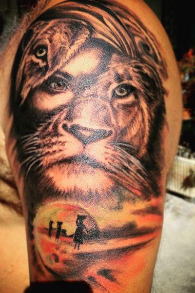 #colortattoo #blackandgrey #Africa #liontattoo #planet #girl #onesession #inprogresstattoo #facetattoos #animals #fantasy #dreamtatoo #jungle #bigcat #realism