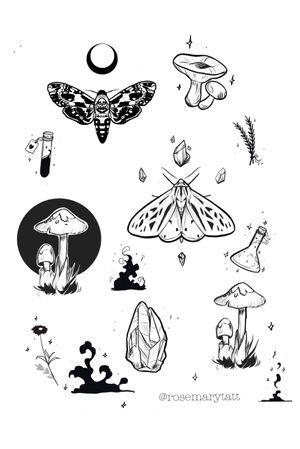 Flash card mystic september #available #flas #flashcard #moth #magic #mystical # mystic #blackandwhite #mushrooms #botanical #moon #night #wicca #potion