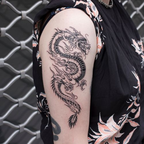 FIGHT FIRE WITH FIRE/ Thanks Lucie for your trust. Booking: mikeend666@gmail.com or DM. #tattoo #dragon #dragontattoo #tattooing #blackwork #blacktraditional #blackworker #blackworktattoo #tatouage #tatowierung #paristattoo #tattooparis #paris