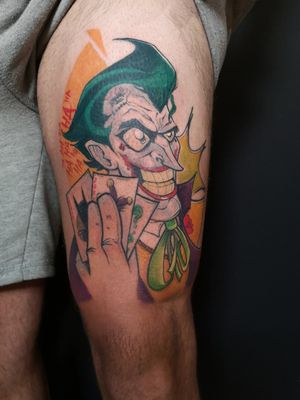 THE JOKER HAND// 2° Sesión de este tatuaje sobre mi visión del joker de la serie animada de los 90. Primera pieza realizada en mi nueva casa @hall_of_ink_ • Productos: @aloetattoo @creative.totalcolours @mutanxs @balm_tattoo • Interesados para citas DM 📩 📞 Telf: 615473363. • #tattoo #tattoosnob #inkeeze #inked #tattooart #mcap #mcapmonsta #ink #sketch #illustration #artwork #tattoooftheday #tattooworkers #cutetattoo #spaintattoo #tattoodesign #comics #tattoolovers #blackwork #colour #colorful #batman #joker #dc #dccomics