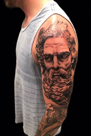 Cranked out this Zeus portrait tge otger day on a great client who flew in from Texas to finish up some sleeve work #blackwork #portrait #blackandgreytattoo #blacktattoo #darkart #zeus #highcontrastblack