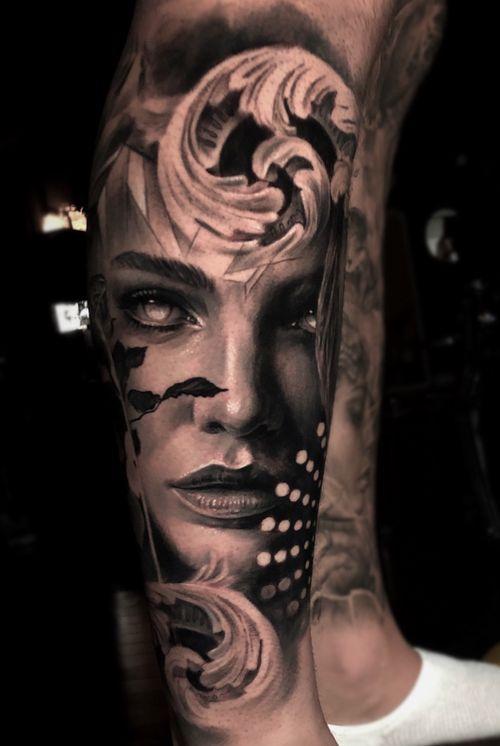 Shin tattoo #tattoo #tattoos #torontotattoo #torontotattoos #realism #blackandgrey #blackandgray #portrait #portraittattoo