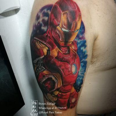 Iron man #royalpaintattoo #byronzuñiga #geektattoo #comictattoo #guatemala #marvelcomics #ironman