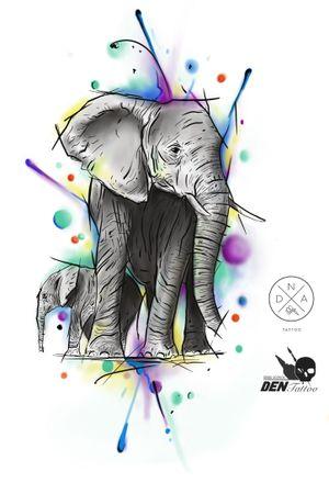 #слон #эскиз #тату #дизайн #tatuaz #tattoo #elephant #family #colour